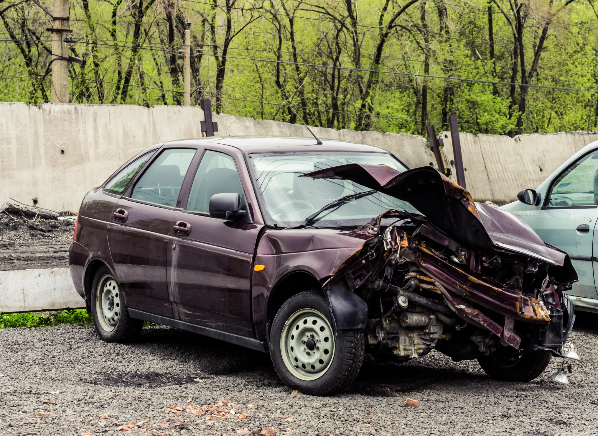 This is a picture of a car wrecked.